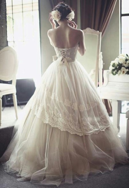 Dress lace up wedding dress tulle skirt vintage for Corset lace up wedding dress