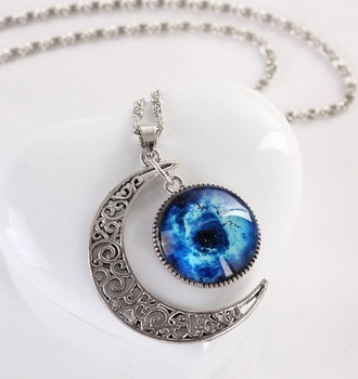 jewels blue red white different colors moon necklace