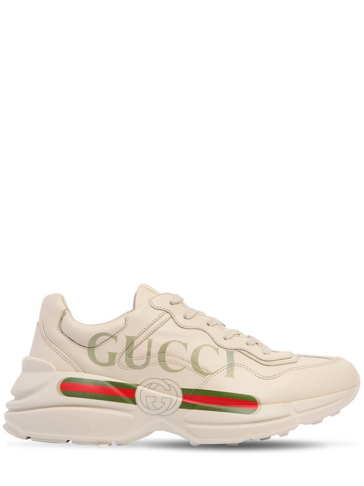 GUCCI 50mm Rhyton Leather Sneakers in white
