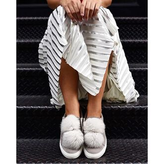 shoes tumblr sneakers low top sneakers grey sneakers pom poms pom pom sneakers pleated skirt silver metallic skirt metallic midi skirt all grey everything
