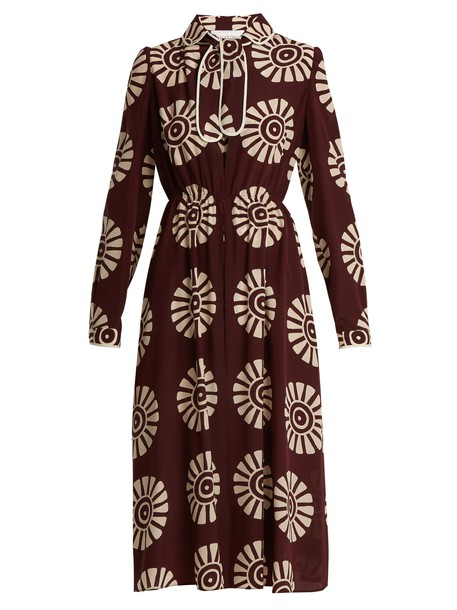 Valentino dress silk dress print silk burgundy