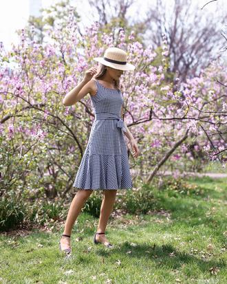 memorandum blogger dress hat bag shoes gingham sandals spring outfits summer outfits tumblr midi dress sleeveless sleeveless dress sun hat spring dress