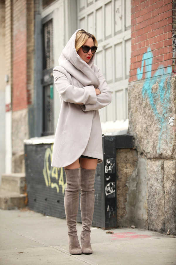 brooklyn blonde coat shoes skirt sunglasses