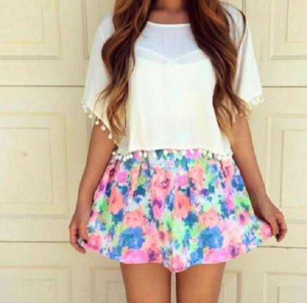 blouse skirt bright bright bright color skirt bright skirt bright flower print floral skirt shirt top