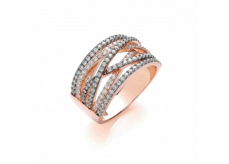 BOUTON || Two Tone Pave Wave Ring | sterling silver jewellery uk