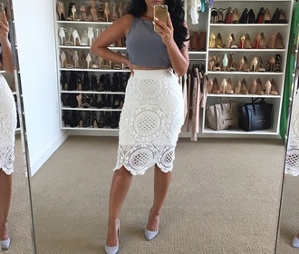 skirt white lace skirt lace skirt midi skirt bodycon grey crop top t-shirt tank top shoes