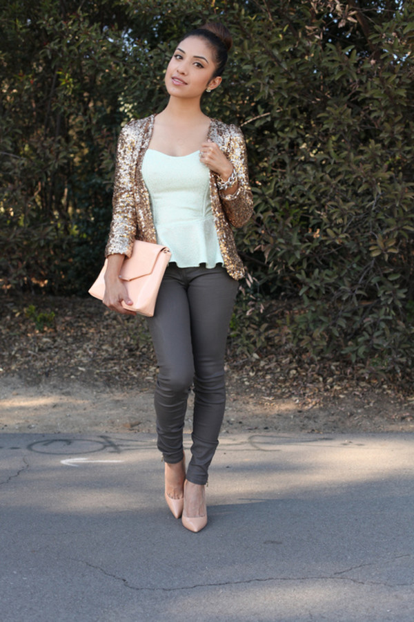 cardigan sparkly cardigan bag skinnies blouse heels jeans shoes