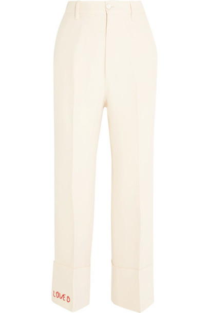 gucci pants embroidered silk wool cream