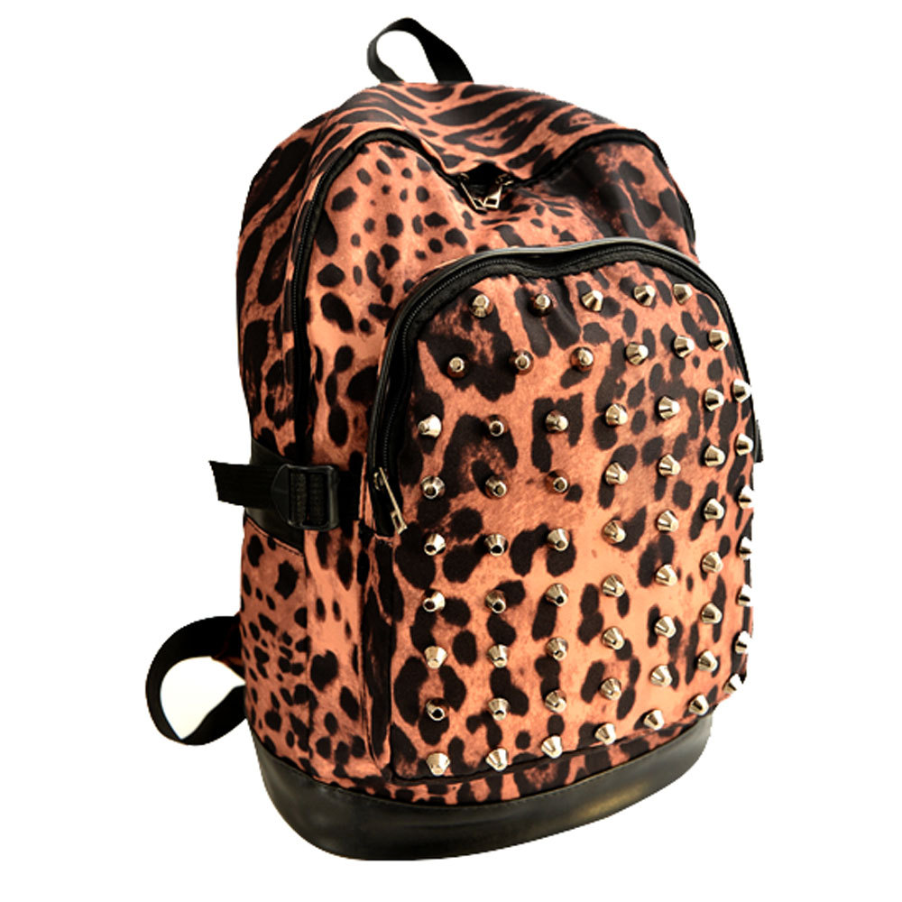 grxjy520347]Leopard Print Studded Rivets School Shoulder Bag Backpack ...