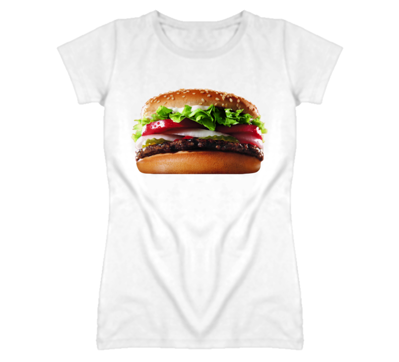 Hamburger on a T Shirt Popular Funny Celebrity Tee