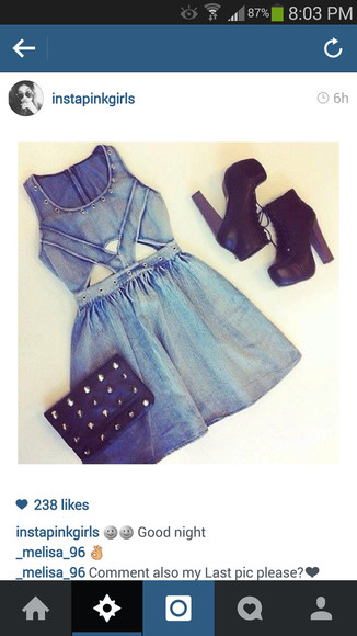 short dress denim dress high heels ootd