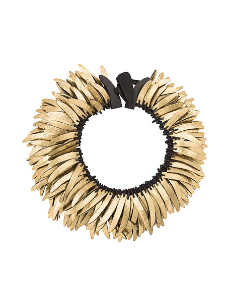 Monies women necklace gold leather grey metallic jewels