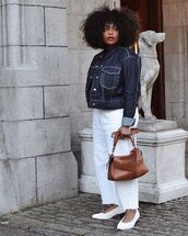 shoes,flats,white shoes,bag,jacket,denim,denim jacket,pants,white pants