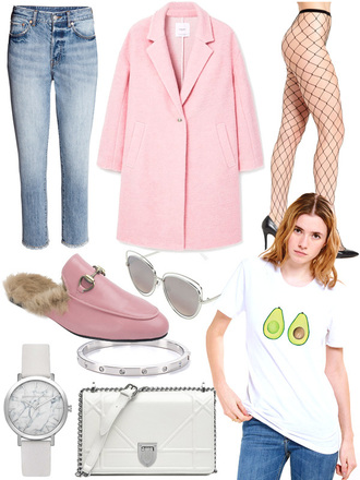 intheircloset blogger jeans coat tights shoes sunglasses t-shirt jewels bag pink coat loafers gucci shoes fishnet tights white bag