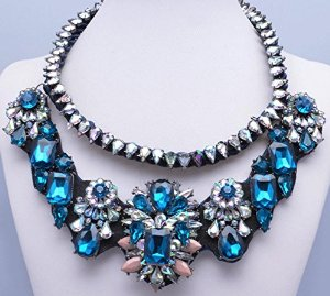 Nuwa shourouk inspired chunky sapphire crystal flower necklace, bridemaids wedding gift.nuwa011