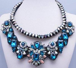 Nuwa shourouk inspired chunky sapphire crystal flower necklace, bridemaids wedding gift.nuwa011
