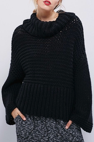 sweater fall outfits winter outfits cozy fashion black style warm long sleeves knitwear