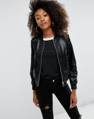 ASOS Cracked Leather Look Bomber Jacket at asos.com