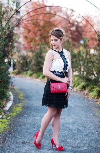 herestheskinny blogger dress bag shoes jewels make-up red bag black and white dress ysl bag red heels high heel pumps