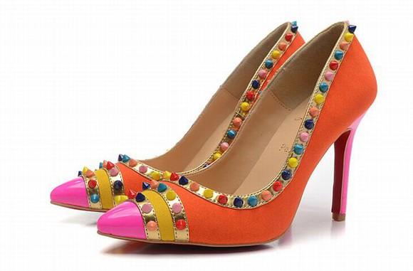 shoes pumps orange christian louboutin multicolor malabar spiked orange pumps christianlouboutin