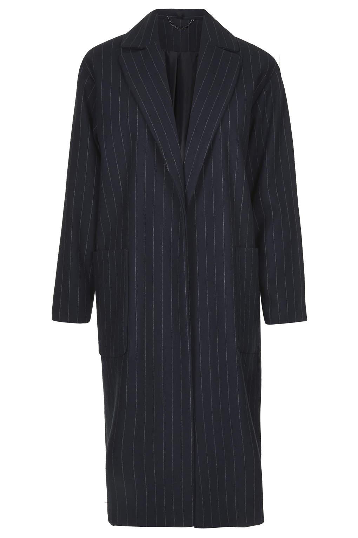 Longline pinstripe throw on coat