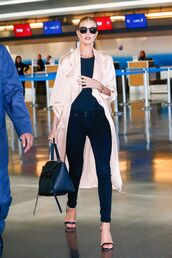 coat,duster coat,spring outfits,rosie huntington-whiteley,sandals,jeans,top,spring,jacket,satin
