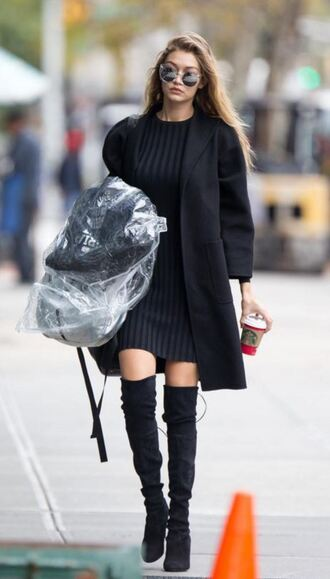 jacket knitwear gigi hadid fall outfits sunglasses fall dress over the knee boots shoes dress