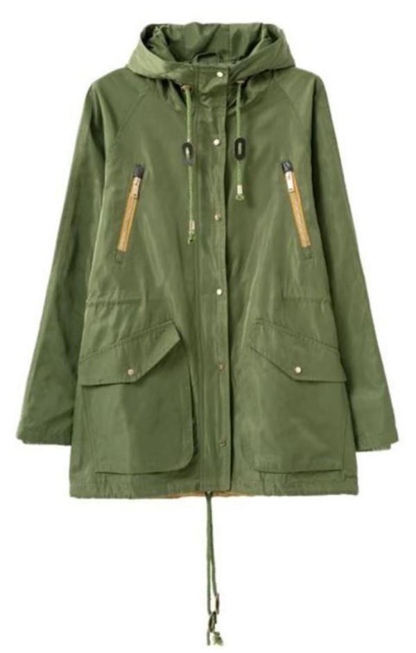 jacket olive green parka olive green coat hooded parka hooded coat hooded jacket parka drawstring jacket www.ustrendy.com