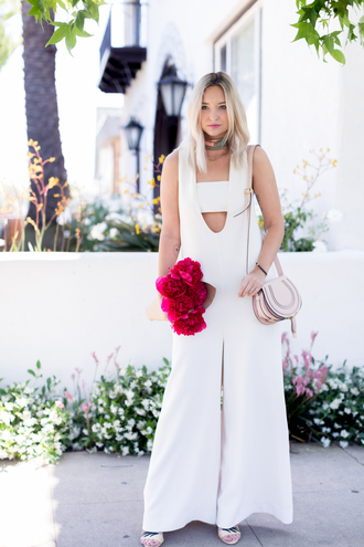 late afternoon blogger jumpsuit bag shoes scarf jewels