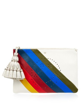 leather clutch rainbow smiley clutch leather bag