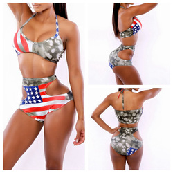 Online shop sexy bandage high waist sexy bikini flag polka dot stars set club bodycon push up swimsuit summer beach swimwear cut out