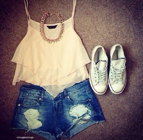 shorts converse big necklace tank top shoes blouse