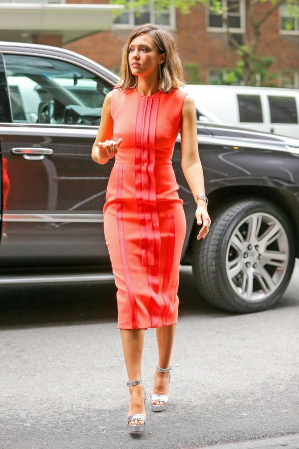 Dress: Midi Dress, Jessica Alba, Orange, Orange Dress