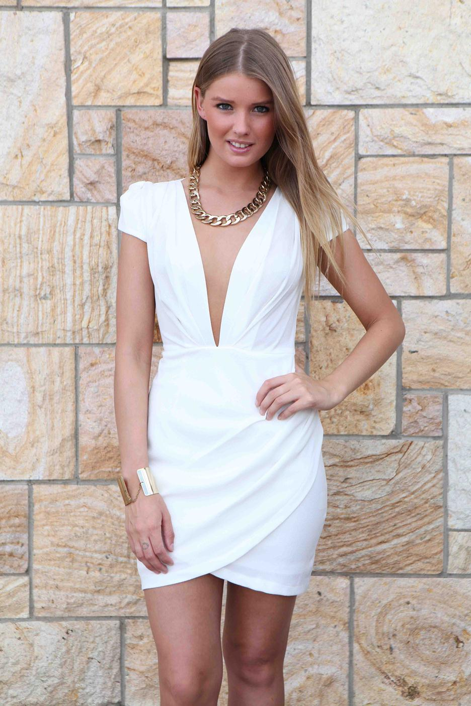 White Party Dress - White Plunge Capped Sleeve Dress | UsTrendy