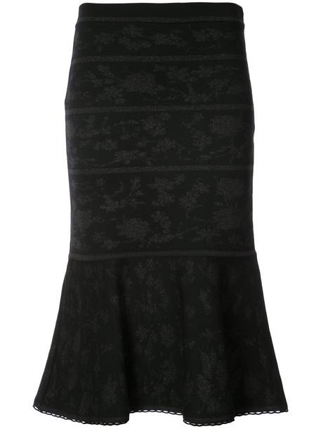 Carolina Herrera skirt women jacquard black wool knit