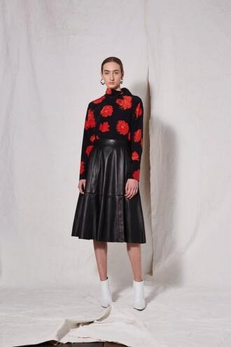 skirt circle skirt leather black
