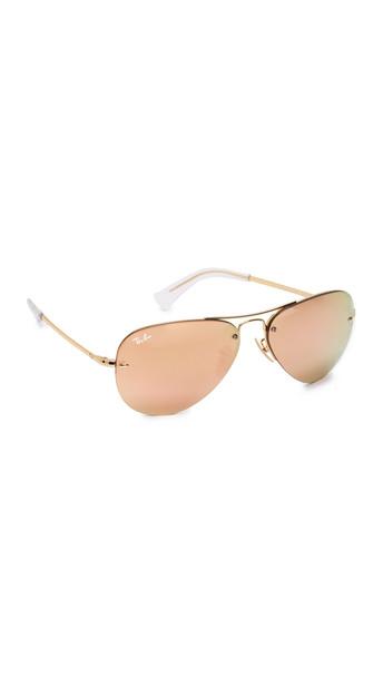 Ray-Ban Rimless Aviator Sunglasses - Gold/Gold