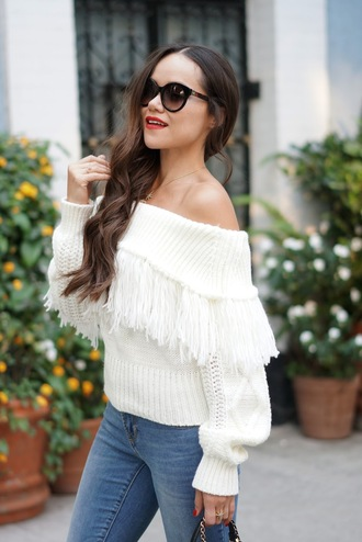 sweater tumblr off the shoulder off the shoulder sweater white sweater knit knitwear knitted sweater sunglasses