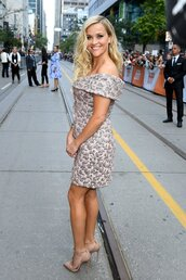 dress,off the shoulder,off the shoulder dress,reese witherspoon,pumps,shoes