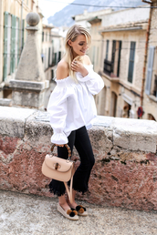 ohh couture,blogger,jeans,blouse,shoes,jewels,kick flare,black jeans,frayed denim,off the shoulder top,white top,long sleeves,bag,nude bag,espadrilles,frayed jeans,cropped bootcut jeans,cropped bootcut black jeans
