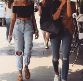 jeans,blue,ripped,ripped jeans,boyfriend jeans,madison beer,denim