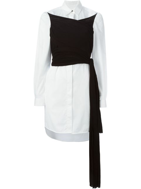 e0f242515583 Mm6 Maison Margiela Contrast Wrap Shirt Dress - Jean Pierre Bua ...