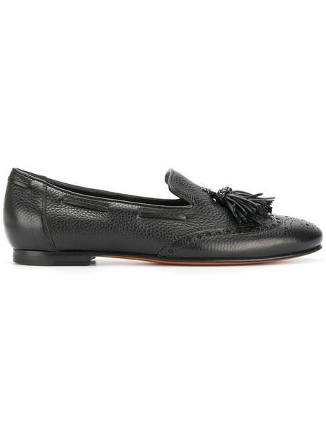 Santoni women loafers leather black shoes