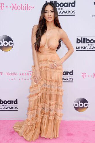 dress nude nude dress billboard music awards nicole scherzinger gown prom dress plunge v neck