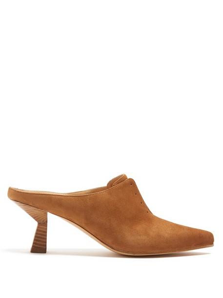 Gabriela Hearst heel mules suede tan light shoes