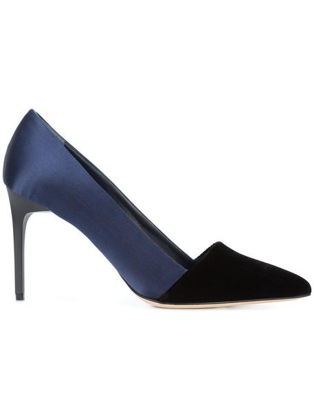 oscar de la renta women pumps cotton blue silk shoes