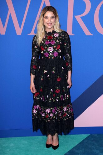 dress floral flowers pumps ashley benson midi dress cfda