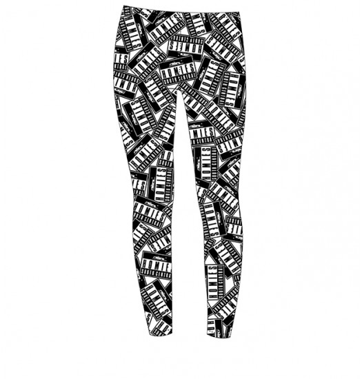 BRIAN LICHTENBERG  WHITE ALL OVER PRINT HOMIES ADVISORY LEGGINGS WITH BLACK INK