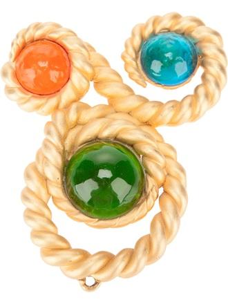 jewels embellished pendant chanel vintage chanel pendant gold-tone metal red blue orange