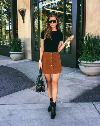 skirt brown suede